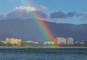 Fishing with Rainbow over Cairns City